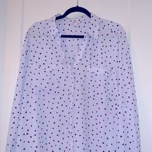 NWOT Candie's Long Sleeve Heart Button Up Blous…